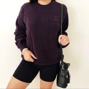 vintage 90s y2k Izod Purple Knit Oversized Sweater